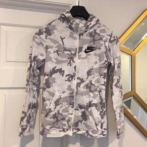 Nike girl's camo zip up hoodie